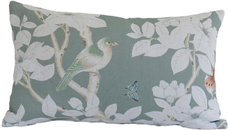Dawn Wolfe Design Chinoiserie 14x22 Lumbar Pillow - Medium Green/White Linen