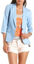 Ruffled Bow-Back Linen Blazer