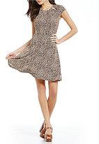 MICHAEL Michael Kors Leopard Print Cut-Out Shirred Neck Flare Dress