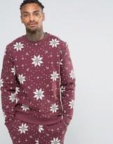 Asos Loungewear Christmas Sweatshirt With Snowflake Print