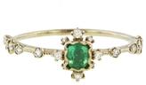 Kataoka Framed Emerald and Scattered Diamond Ring