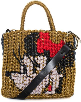 Lorenza Gandaglia Brown & Red Fabric Minnie Woven Tote, Nwt