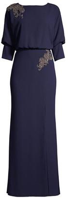 Aidan Mattox Floral Beaded Side Slit Column Gown