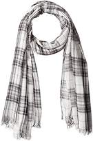 D&Y Women's Yarn Dyed Plaid Oblong Scarf with Frayed Edge