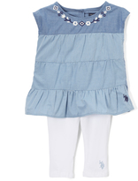 U.S. Polo Assn. Blue Tiered Tunic & White Leggings - Infant Toddler & Girls