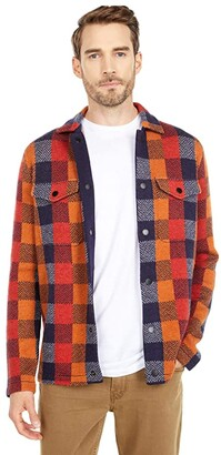 Scotch & Soda Jacquard Check Knit Worker Shirt Jacket (Combo A) Men's Clothing