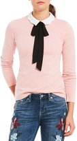 CeCe Long Sleeve Scalloped Bow-Tie Top