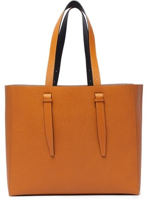 Valextra Large Grained-leather Tote - Brown