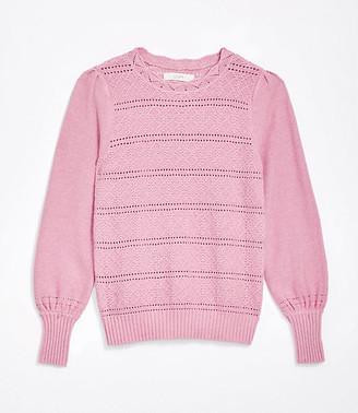 LOFT Dot Stripe Pointelle Sweater