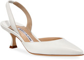 Manolo Blahnik Carolyne Low-Heel Leather Slingback Pumps