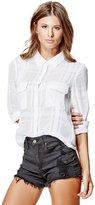 GUESS Dylan Long-Sleeve Sheer Plaid Shirt