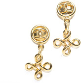 Chanel Gold CC Drop Knot Cross Vintage Clip On Earrings