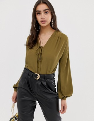 Asos Design DESIGN long sleeve body with lace up front detail-Green