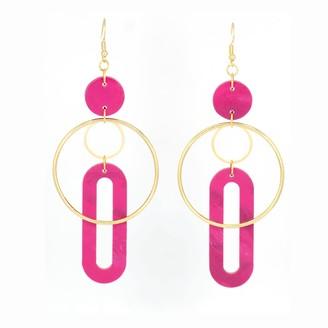 Cura Jewellery Solar Earrings- Magenta