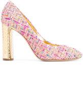 Casadei metallic heel tweed pumps - women - Leather/Polyester/Metallic Fibre/Kid Leather - 35
