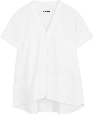 Jil Sander White V-neck cotton blouse