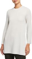 Eileen Fisher Silk/Organic Cotton Bracelet-Sleeve Mock-Neck Tunic
