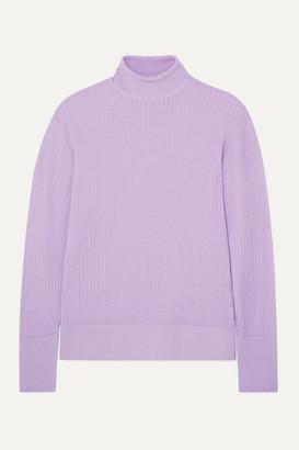 KING & TUCKFIELD Pointelle-knit Merino Wool Turtleneck Sweater - Lilac