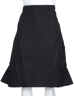 McQ Black Cotton Structured A Line Skirt L