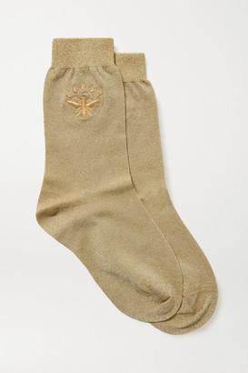 Maria La Rosa Embroidered Metallic Stretch-knit Socks - Gold