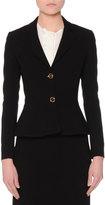 Agnona Two-Button Fitted Peplum Jacket, Black