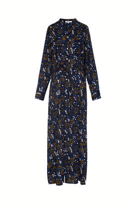 Gerard Darel Long Tunic-style Shirt Dress With Printed Cotton