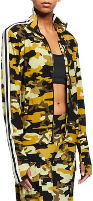 Norma Kamali Camo Zip Front Side Stripe Turtle Jacket