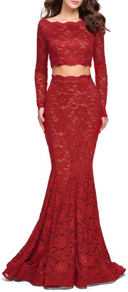 La Femme Embellished Two-Piece Long-Sleeve Lace Mermaid Gown