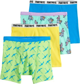Licensed Character Boys 8-12 Fortnite Fun Pack 4-Pack Cotton Boxer Briefs