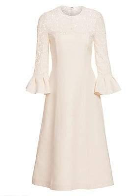 Valentino Women's Lace Bell Sleeve Wool & Silk A-Line Dress