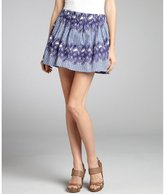 Thakoon blueberry white printed cotton pleated flare skirt