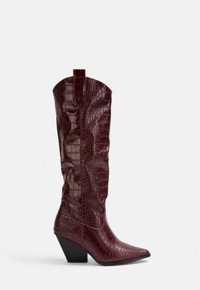 Missguided Burgundy Snake Textured Cowboy Boots