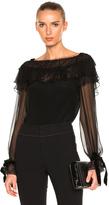 Alberta Ferretti Ruffle Blouse in Black.