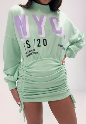 Missguided Sage Nyc Graphic Ruched High Neck Sweater Dress