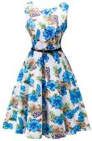 Dasbayla Women's Dapper Dresses Blue Floral Round Neck Pleated Swing A-Line Party Dress S