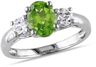 Delmar Sterling Silver Peridot & Created White Sapphire Triple Stone Ring