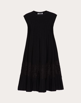 Valentino Stretch Viscose And Heavy Lace Dress Women Black Viscose 83%, Polyester 17% M