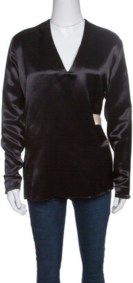 Acne Studios Black Satin Belted Cathay Blouse S