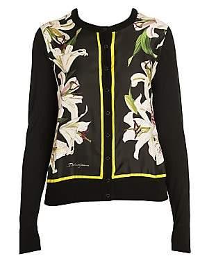 Dolce & Gabbana Women's Long Sleeve Floral Silk Cardigan