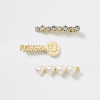 River Island Girls Gold tone embellished hair clips 3 pack