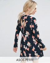 Asos High Neck Skater Dress With Open Back In Geo Floral Print