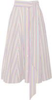 Lisa Marie Fernandez Striped Seersucker Midi Skirt - White