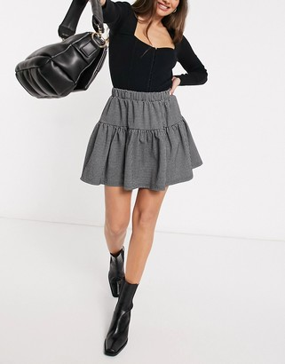 Y.A.S mini skirt co-ord with tiering in mini houndstooth check