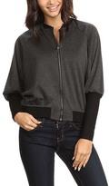 Heather Charcoal High Cuff-Sleeve Bomber Jacket