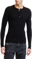 Dolce & Gabbana Men's Lightweight Rib-Knit Wool Henley Shirt
