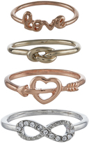 Accessorize 4x Love Styling Ring Set