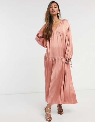 ASOS DESIGN satin tiered trapeze midi smock dress in dusky pink