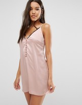 Missguided Lace Trim Button Up Cami Dress