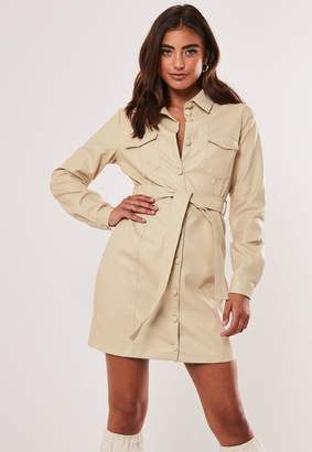 Missguided Stone Faux Leather Belted Shirt Dress