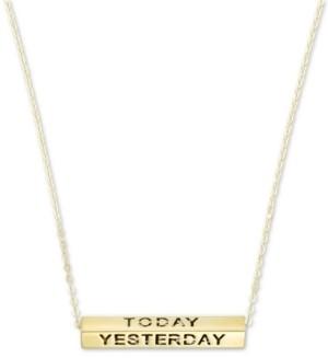 "Italian Gold Longevity Bar 18"" Pendant Necklace in 10k Gold"